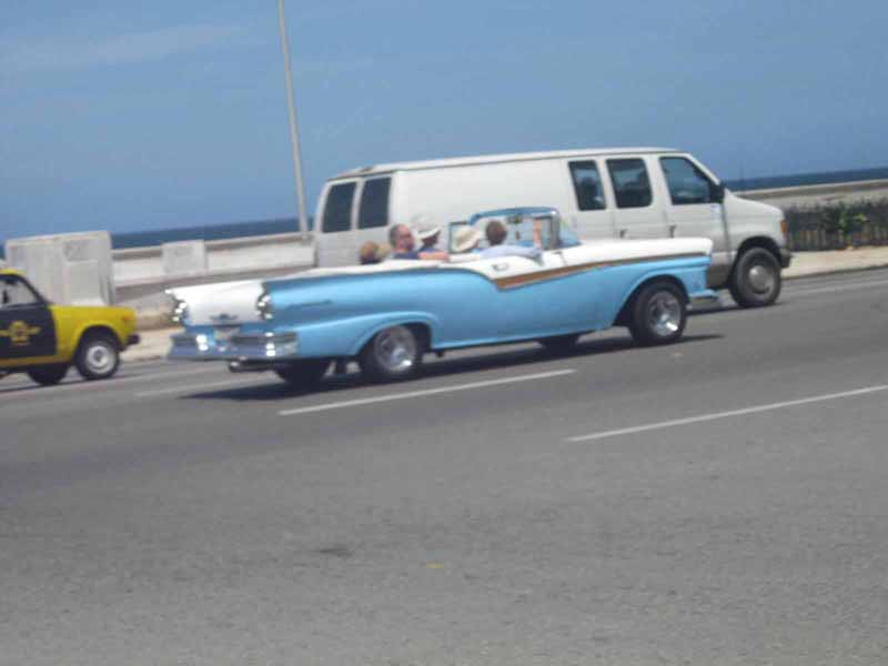 light blue vintage car in havana