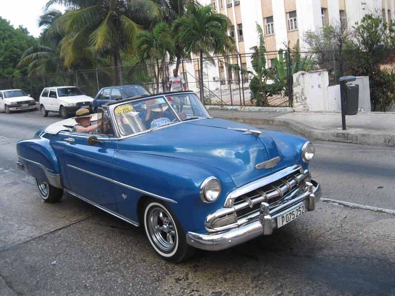 blue vintage car in havana