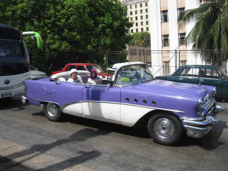 purple vintage car in havana