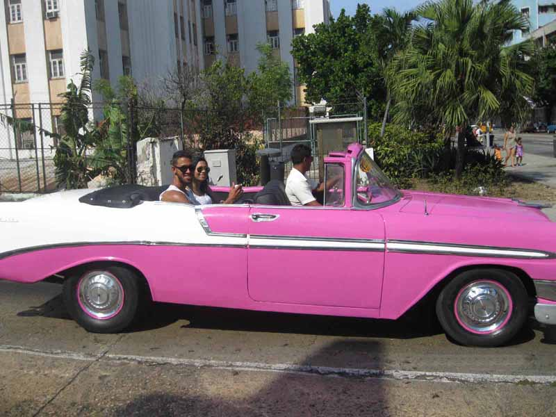 pink vintage car in havana